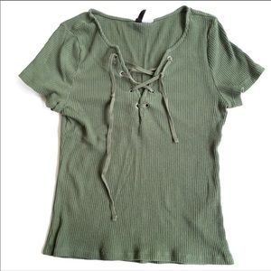 H&M olive green lace up T-shirt small